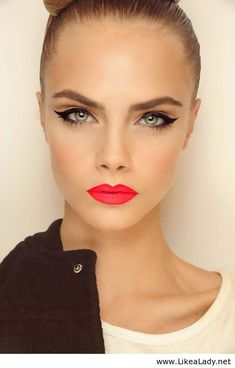Flawless skin matched with a bold lip