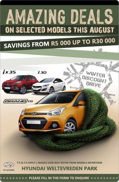 Savings from R5 000 up to R30 000 on selected new Hyundai models this August.