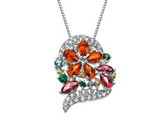 From our 'Rainbow Topaz' Collection: What's not to love about a fabulous floral heart pendant