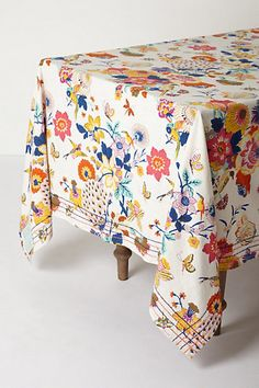 Heredia Tablecloth #anthropologie If I could blow $128 on a tablecloth, it'd be on this one.