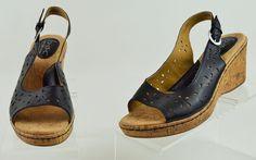 Born Boc Womens 9 M Black Leather Cork Wedge Heel Used #Born #PlatformsWedges