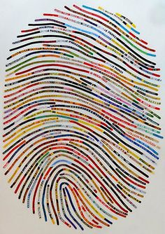 Literary Thumbprint: Cheryl Sorg (Etsy shop owner) will take your actual thumbprint and a list of your 50 favorite books or quotes and create a thumbprint portrait for you. And it's three feet tall! (burrowpress)