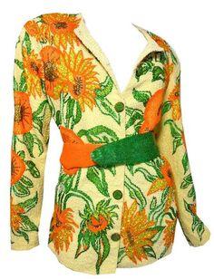 Heavily Beaded Sunflower Design Jacket circa 1960s - Dorothea's Closet Vintage