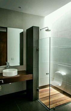 Baño negro madera
