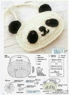 Amigurumi Panda - Free Crochet Chart Pattern ~ change purse :-D Crochet Panda, Crochet Diy, Love Crochet, Crochet Animals, Crochet For Kids, Crochet Dolls, Crochet Sheep, Crochet Gratis, Crochet Diagram