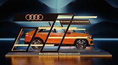 Audi Exposition on Behance Bus Stop Design, Mall Design, Showroom Design, Audi Motor, Car Expo, Neon Car, Nendo Design, Retail Facade, Tv Set Design