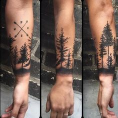 Black Ink Forest Tattoo On Arm