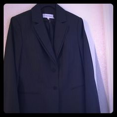 Flash sale Calvin Klein blazer ! Like new Beautiful double neck lapel , 2 button grey suit blazer separate with stripes! Has 2 pockets at sides.  Bought from macys abt 2 yrs ago, wore it only once! Like new! Make me an offer!!! Calvin Klein Jackets & Coats