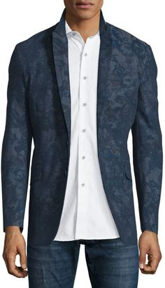 $698, Robert Graham Seligman Allover Printed Two Button Blazer Navy. Sold by Neiman Marcus. Click for more info: https://lookastic.com/men/shop_items/444971/redirect