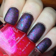 "Lacquer Lust ""Red Light Special"" over black matte http://www.polishandpandas.com/2014/02/lacquer-lust-swatches-review.html#more"