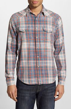 Free shipping and returns on Lucky Brand Regular Fit Plaid Western Shirt at Nordstrom.com. A vintage wash brings an old-timey appearance to a plaid cotton Western shirt classically detailed with Western yokes and enamel snaps.