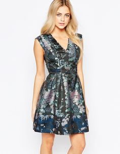 Oasis+Butterfly+Jacquard+Skater+Dress