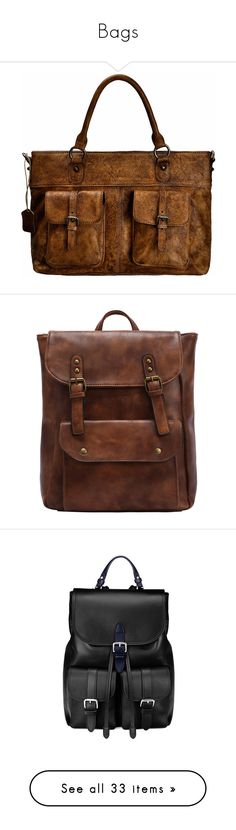 """""""Bags"""" by kidcreepy on Polyvore featuring bags, briefcases, backpacks, faux leather backpack, brown faux leather backpack, day pack backpack, vegan bags, fake leather backpack, accessories and purses"""