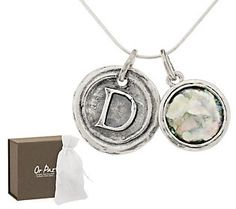 Or Paz Roman Glass Initial Charm Sterling Necklace