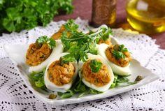 Jajka faszerowane Fresh Rolls, Baked Potato, Potatoes, Gluten Free, Eggs, Baking, Breakfast, Ethnic Recipes, Easter