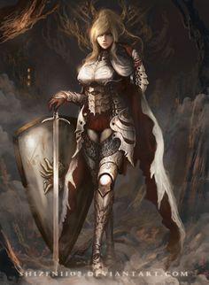 f Paladin Plate Armor Shield Cloak Longsword female Traveler Night Forest Path CM by DeviantArt lg Fantasy Female Warrior, Female Knight, Fantasy Armor, Anime Fantasy, Female Art, Fantasy Character Design, Character Inspiration, Character Art, Fantasy Art Women
