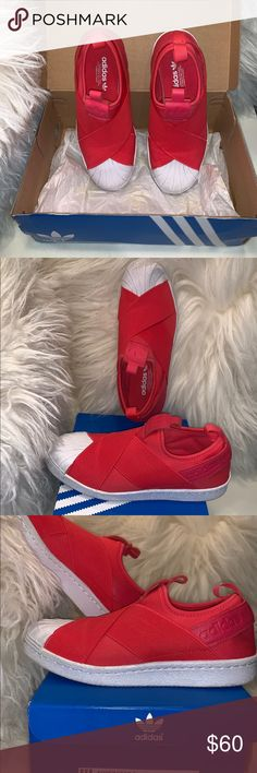 hot sale online cc8e8 7a013 Adidas Superstar Slip On Shoes Adidas Originals Women s Superstar Slip-On  Sneaker, Red and