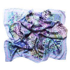 Shop for women's designer scarves at Wolf & Badger. Add a pop of color to your outfit with one of our brilliant independent designers' scarves. Satin Top, Silk Satin, Pastel Tops, Designer Scarves, Layered Tops, Paris, Neck Scarves, Mixing Prints, Top Pattern