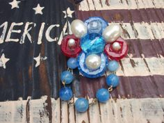 Red, white and blue recycled jewelry and button assemblage pin by mscenna, $8.00