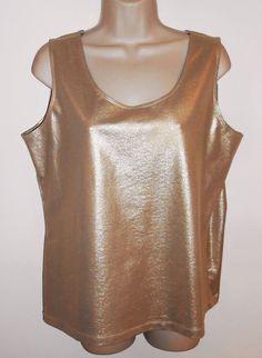 Chicos 3 XL 16 Gold Metallic Stretch Tank Top Sleeveless Shell Shimmer Shirt #Chicos #TankCami