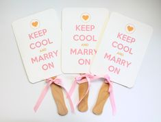 Keep Cool and Marry On Printable Wedding Fan 550x416 DIY Wedding Paddle Fans + Free Printable