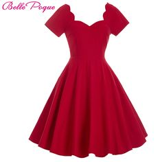 Cheap 1950 s 60 s rockabilly dress 2016 bata sexy cuello en v red elegante casual summer dress túnica vestidos retro vintage swing party dress, Compro Calidad Vestidos directamente de los surtidores de China: 1950 s 60 s rockabilly dress 2016 bata sexy cuello en v red elegante casual summer dress túnica vestidos retro vintage swing party dress