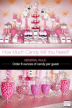 Learn How to Set Up a Candy Buffet step-by-step!find out How Much Does a Candy Buffet Really Cost and How Much Candy Do You Need for a Candy Table. Candy Buffet Tables, Pink Candy Buffet, Pink Dessert Tables, Birthday Candy Buffet, Babyshower Dessert Table, Buffet Set Up, Dessert Buffet Table, Food Buffet, Birthday Table
