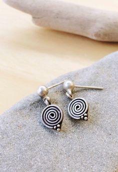 Sterling silver spiral earrings, Tiny spiral studs, dangle earrings, spiral earring, boho chic, drop earring, steampunk, gift