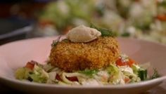 "Jamie Oliver makes cajun salmon and prawn fishcakes on Jamie's Money Saving Meals. Jamie says: ""These Cajun fishcakes are super cute, crispy on the outside, soft in the middle and have just enough spice to get your tastebuds going. To complement them perfectly I've given you a zingy chopped salad, and the condiment of choice, strangely for me (Mr Rustic), is a quenelled teaspoon of horseradish, which works really, really well."" 200 g frozen salmon fillets, 200 g frozen peeled cooked prawns…"