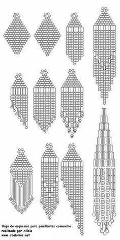 Earrings: many different diagrams - All start in the middle with brick stitch. #Seed #Bead #Tutorials: