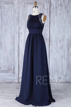 a691d2dcefa5 Bridesmaid Dress Navy Blue Chiffon Wedding Dress Ruched Jewel Neck Prom  Dress Illusion Lace A-Line Maxi Dress Pleated Party Dress(H486A)