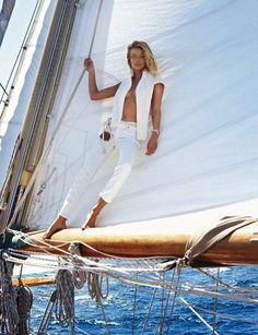 Movement: Wind, canvas flapping... a Sailing Shoot? Anyone own a Boat?  Edita Vilkeviciute Sails The High Seas, Lensed Buy Gilles Bensimon for Vogue Paris May 2013