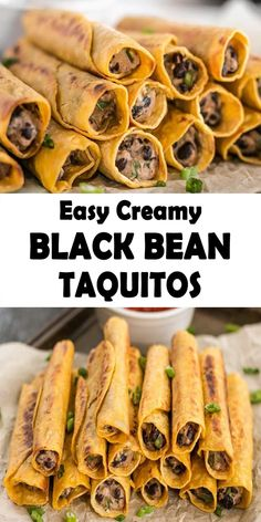 This Creamy Black Bean Taquitos are really easy, so delicious. These adorable and crispy small Black Bean Taquitos are extremely simple, fun to eat, and therefore are completely Super Bowl worthy. Healthy Food Recipes, Tasty Vegetarian Recipes, Vegetarian Recipes Dinner, Vegan Dinners, Vegan Foods, Veggie Recipes, Mexican Food Recipes, Whole Food Recipes, Cooking Recipes