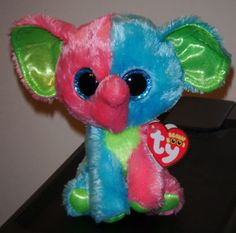 Ty-Beanie-Boos-Boos-ELFIE-the-6-Colorful-Elephant-2014-NEW-IN-HAND