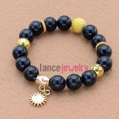 Classic dark color stone&alloy accessories pendant bead bracelet.