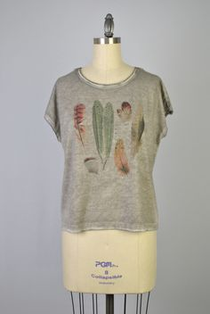 New Lace Yolk Tee with Graphic Feather Design