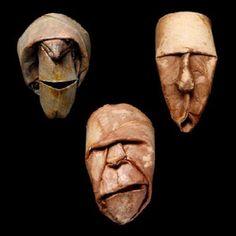 Artista usa rolos de papel higiênico para criar divertidos rostos de origami
