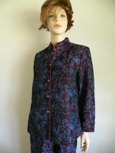 #Vtg #70s #Retro #Asian #Chinese #Brocade #Tapestry 2pc Floral #KungFu #PantSuit Sz M #VintageFashion #Fashion #style