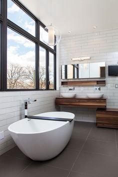 Modern white + wood bathroom design by Nexterra Green Homes Ltd. I love this..