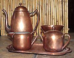 VINTAGE COPPER COFFEE SERVICE SET Pot Creamer Sugar Tray Bowl READING TUBE CORP