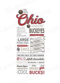 OSU Buckeye Recipe Poster Printable Ohio by LazuliLanePrintables