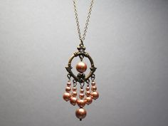 Pearl Chandelier Necklace, Boho Chic Necklace, Exotic Necklace, Gypsy Jewelry with  Antiqued Brass and  Swarovski Pearls, Gift Set by SeoulJewelry on Etsy
