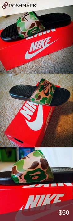 Bape x nike custom slides Brand new bape custom nike slides best quality with box Jordan Shoes Sneakers