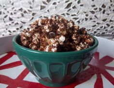 dark chocolate covered popcorn with cinnamon