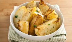 Lemony Greek Roasted Potatoes.  I've made these a few times and they always turn out great.  It calls for only 4 potatoes but I find the sauce is enough for 6-8 medium potatoes.