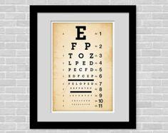Vintage inspired eye chart - 11 x 17 poster - Home Decor Art Print - Medical chart