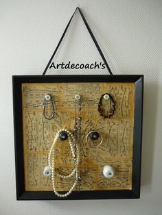 jewelry frame idea. I think that if I did this I would have to have several frame, since I have a lot of jewelry. cool!