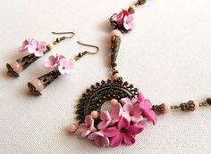 Pink floral jewelry set  Handmade jewelry  Spring by insoujewelry, $53.00