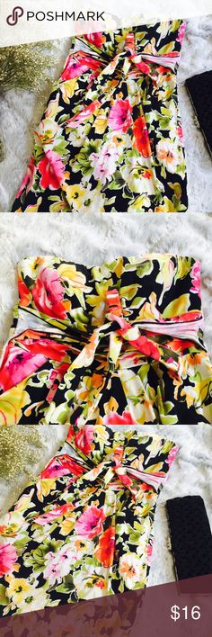 SNAP Strapless Floral Dress Bow Tie Back Strapless Dress Stretch Above Knees Snap Dresses Mini