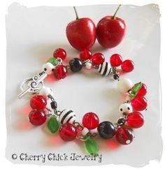 Cherry Beaded Charm Bracelet | CherryChick - Jewelry on ArtFire